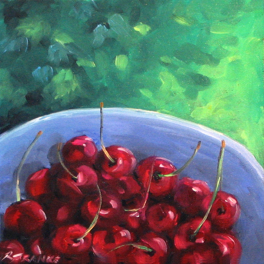 Painting Painting - Cherries On A Blue Plate by Richard T Pranke