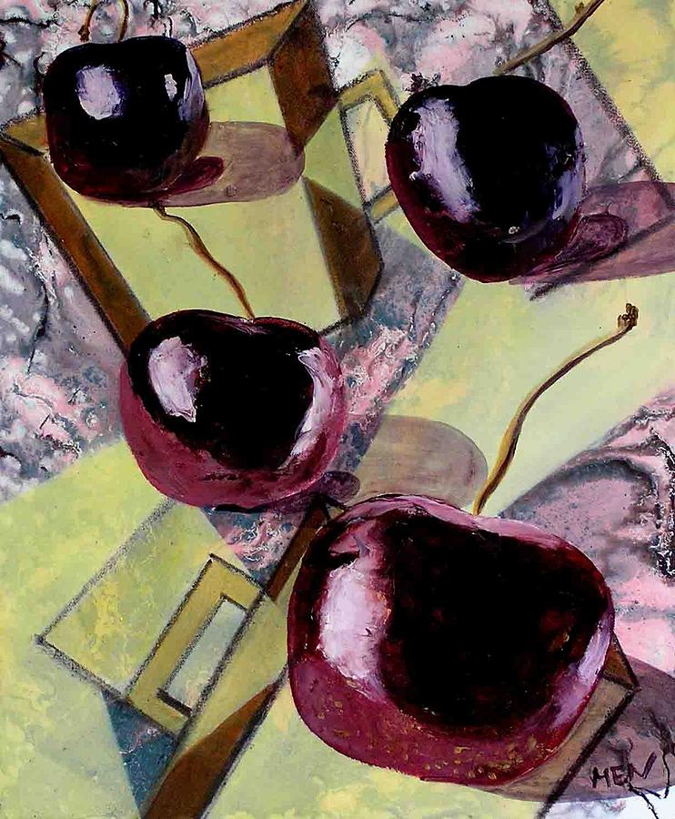 Cherries Painting - Cherries On Flat Homeware by Evguenia Men