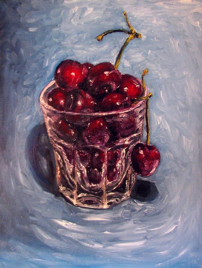 Red Painting - Cherries original oil painting by Natalja Picugina