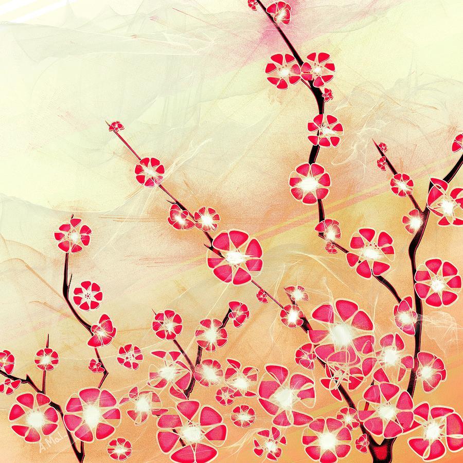 Decorative Digital Art - Cherry Blossom by Anastasiya Malakhova