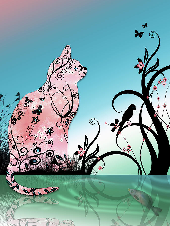 Cherry Blossom Cat By Pond At Sunset Digital Art by Lesley ...