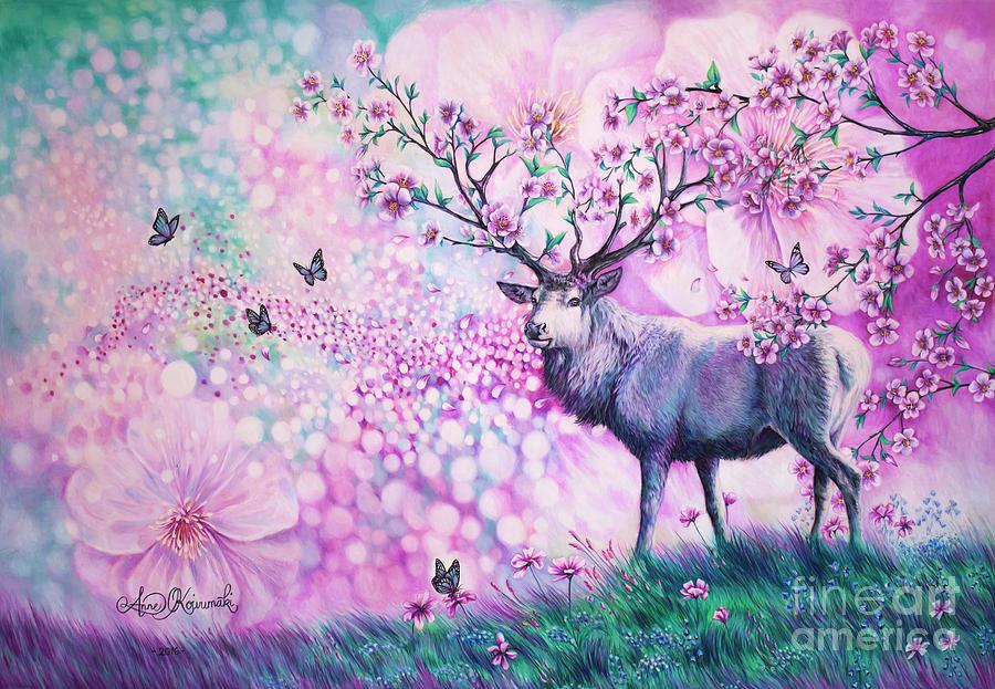 Cherry Blossom Painting - Cherry Blossom Deer by Anne Koivumaki - Fine Art Anne