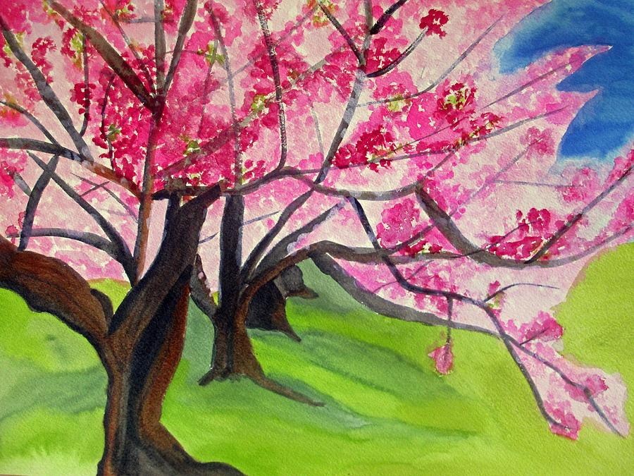 Cherry Tree Painting - Cherry Blossom Sakura by Sacha Grossel