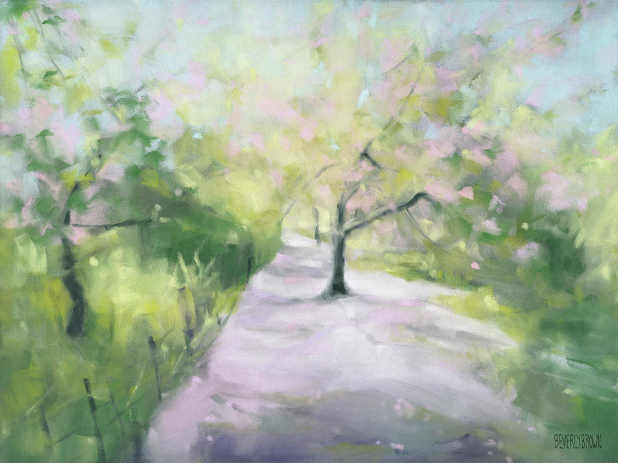 Garden Painting - Cherry Blossom Tree Central Park Bridle Path by Beverly Brown