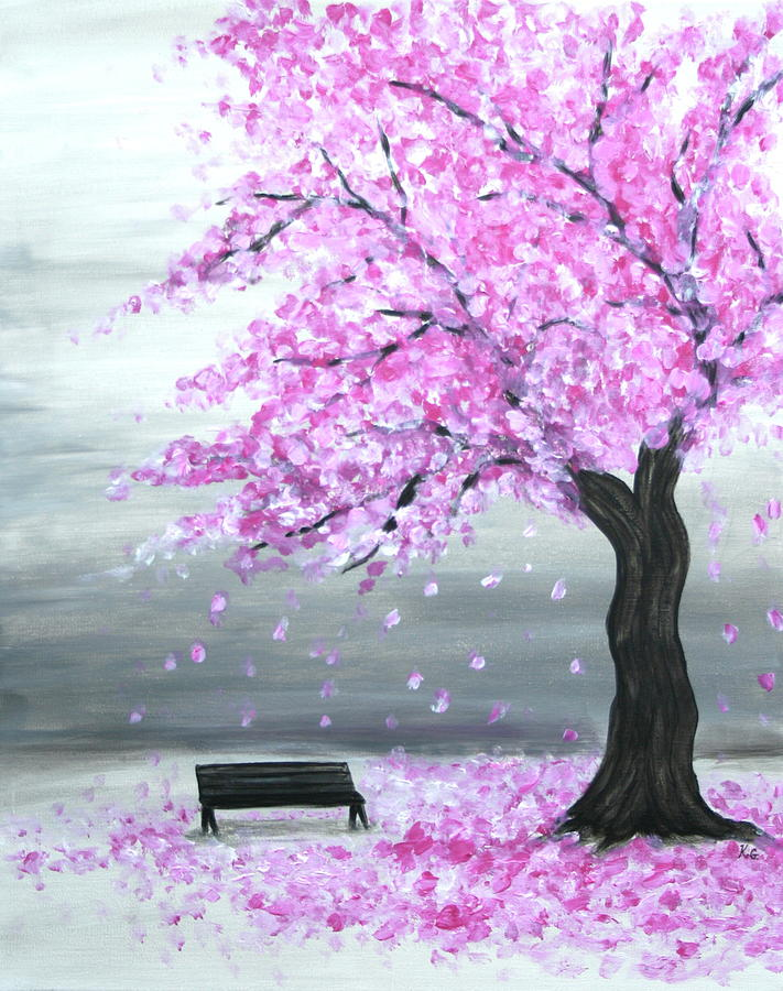 Cherry Blossom Tree Painting by Kristine Griffith