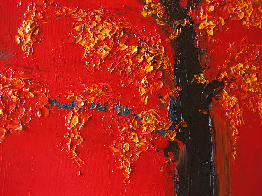Landscape Painting - Cherry Blossom Tree - Red Yellow by Patricia Awapara