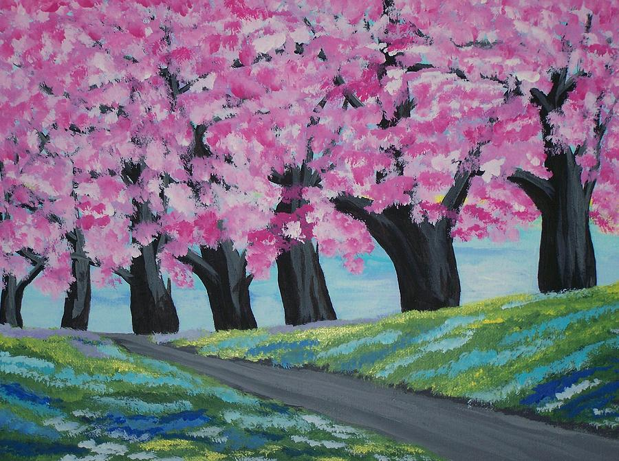 Cherry Blossom Trees Painting By Elizabeth Janus