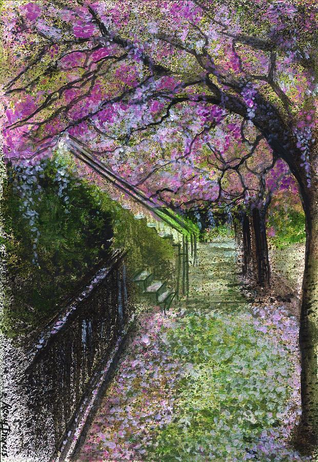 Lanscape Painting - Cherry Blossom Walk by Remy Francis