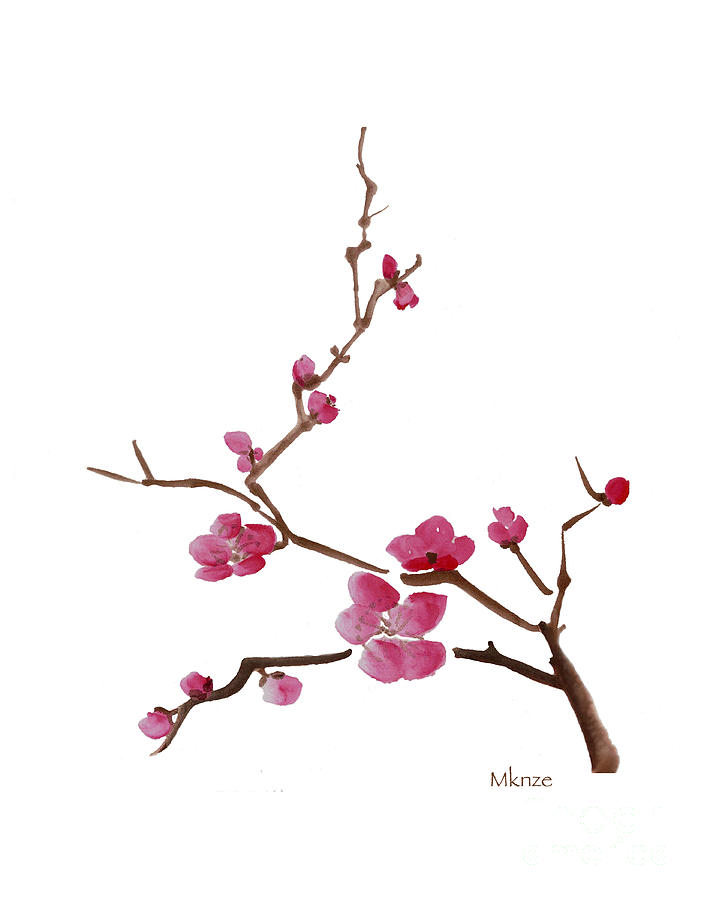 Cherry blossoms 1c painting by mckenzie leopold for Simple cherry blossom painting