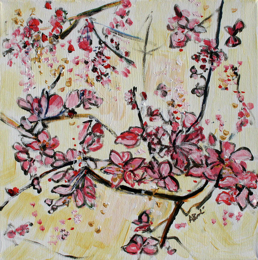 Cherry Blossoms Painting - Cherry Blossoms 201751 by Alyse Radenovic