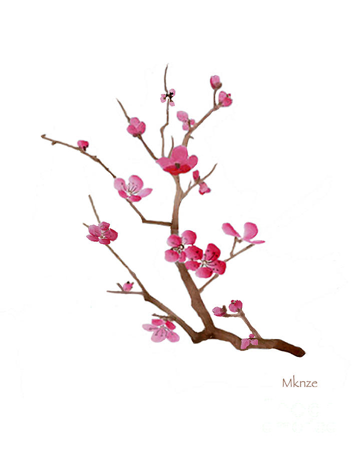 Oriental Grass Painting - Cherry Blossoms 2f by McKenzie Leopold