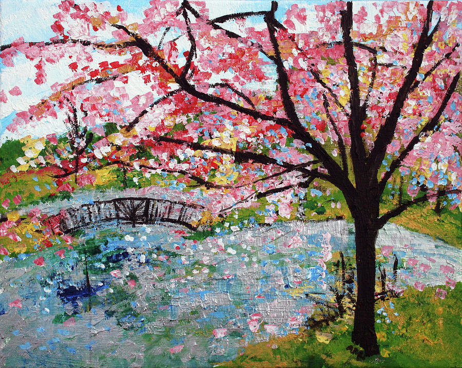 Cherry Blossom Painting - Cherry Blossoms And Bridge 3 201730 by Alyse Radenovic