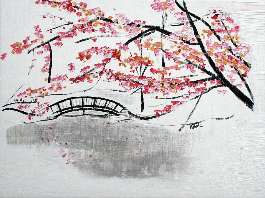 Cherry Blossoms Painting - Cherry Blossoms And Bridge II Meadowlark Botanic Gardens 201729  by Alyse Radenovic