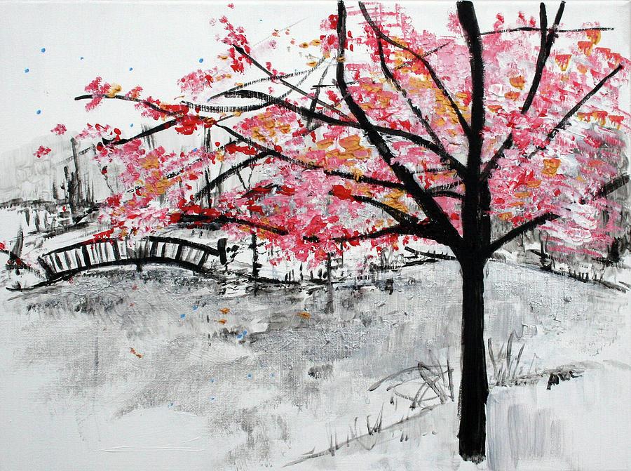 Cherry Blossoms Painting - Cherry Blossoms And Bridge Meadowlark Botanical Gardens 201728 by Alyse Radenovic