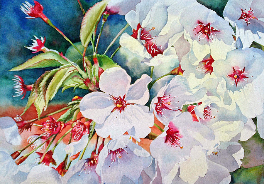 Japanese Cherry Blossom Painting - Cherry Blossoms- B by Diane Fujimoto