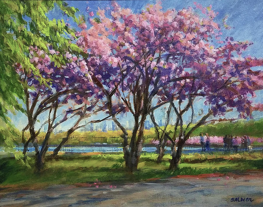New York Landscape Painting - Cherry Blossoms, Central Park by Peter Salwen