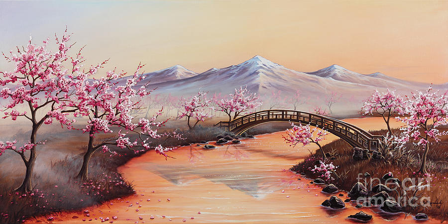 Landscape Painting - Cherry Blossoms In The Mist - Revisited by Joe Mandrick
