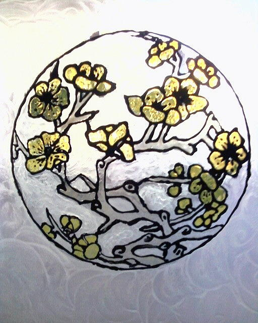 Yellow Glass Art - Cherry Blossoms Stained by Ericka Ramos