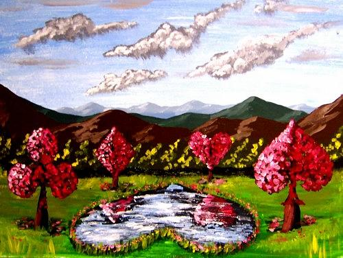 Cherry Blossoms Painting - Cherry Blossoms Suits Unique Landscape Scenic Painting by Teo Alfonso
