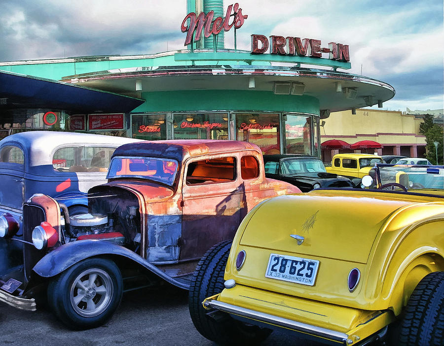 Diners Photograph - Cherry Coke Shakes And Fries  by Rat Rod Studios