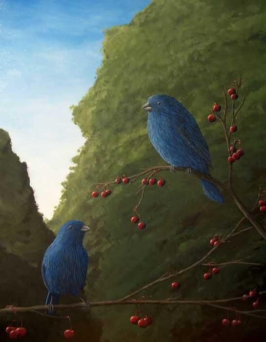 Cherry Painting - cherry Jubilee  Indigo Bunting by Cedric Colond