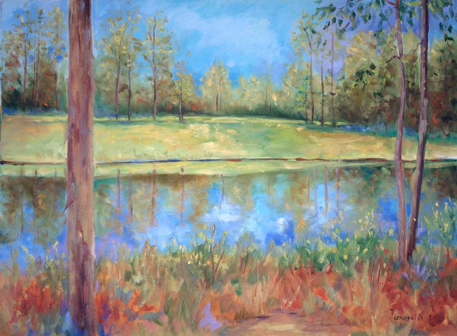 Ponds Painting - Cherry Moon Pond by Ginger Concepcion