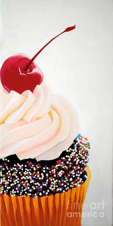 Cupcake Painting - Cherry On Top by Devan Gregori