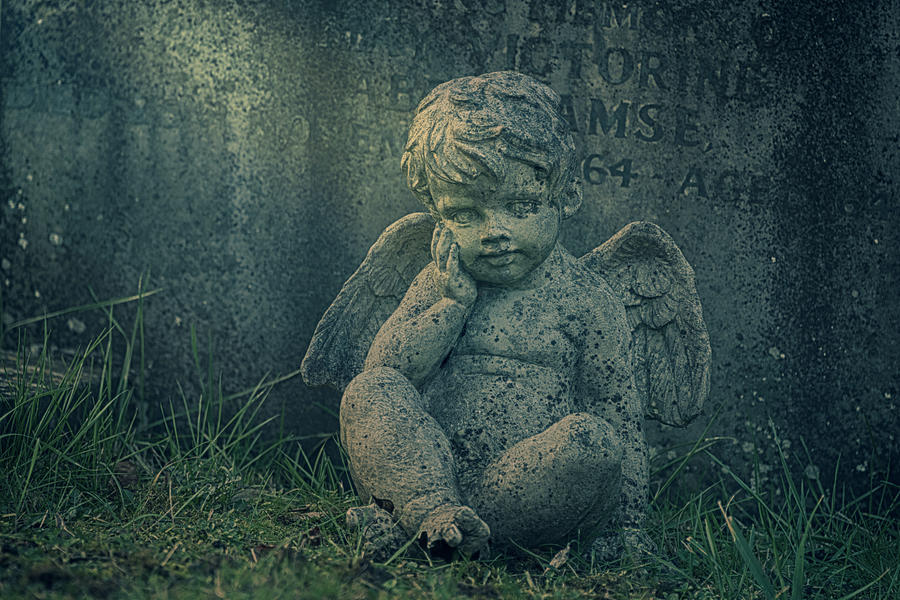 Anglican Photograph - Cherub Lost In Thoughts by Monika Tymanowska