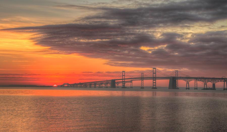 Chesapeake Bay Bridge Sunrise Photograph By Mark Dignen