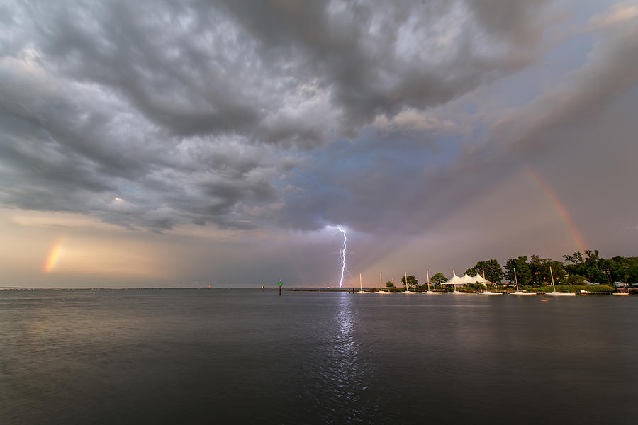 Rainbow Photograph - Chesapeake Bay Rainbow Lighting by Jennifer Casey