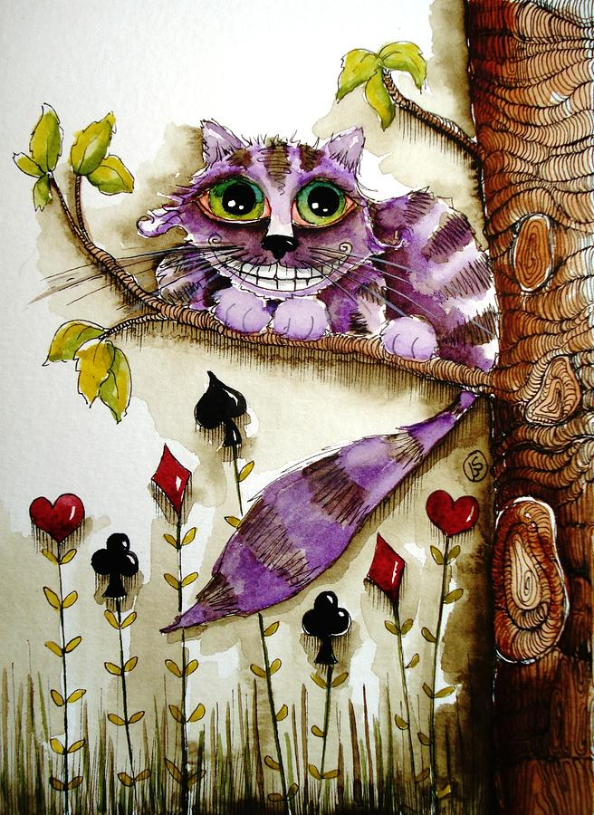 Cheshire Cat Painting By Lucia Stewart