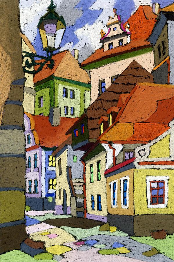 Pastel Painting - Chesky Krumlov Masna Street 1 by Yuriy  Shevchuk