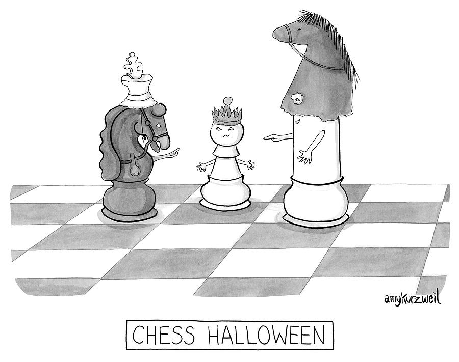 Chess Halloween Drawing by Amy Kurzweil