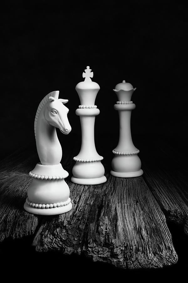 Queen Photograph - Chess Pieces On Old Wood by Tom Mc Nemar