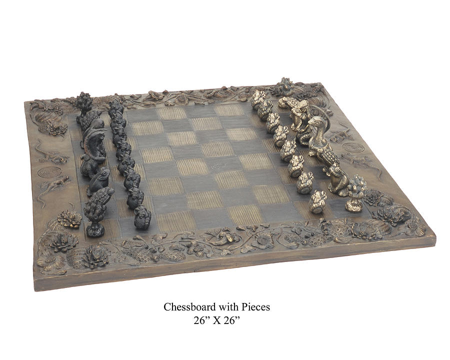 Chessboard With 32 Pieces Sculpture by Pokey  Park