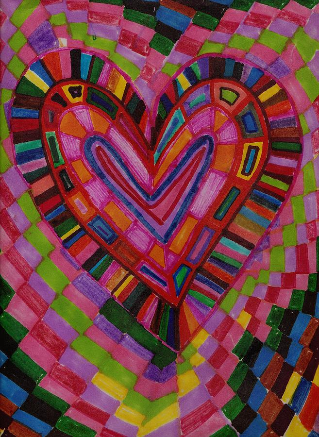 Abstract Drawing - Chessire Heart by Brenda Adams