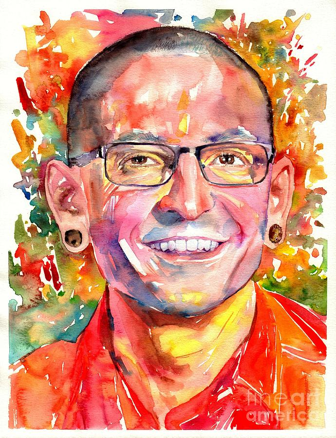 Chester Painting - Chester Bennington Watercolor by Suzann Sines