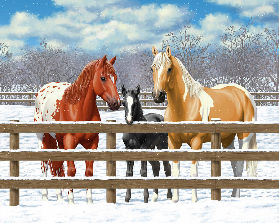 Horses In Snow Painting - Chestnut Appaloosa Palomino Pinto Black Foal Horses In Snow by Crista Forest