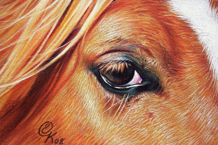 Horse Drawing - Chestnut Close-up by Elena Kolotusha