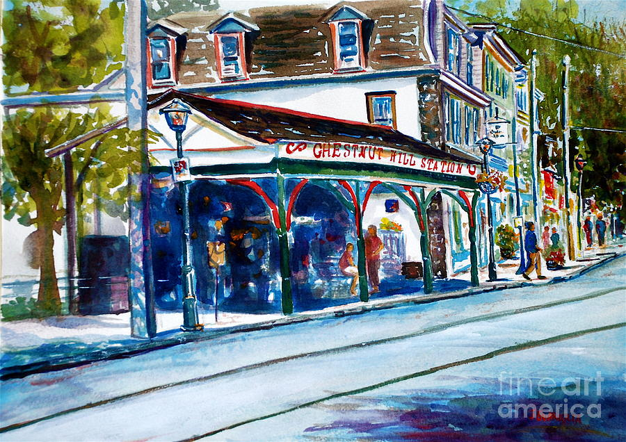 Landscape Painting - Chestnut Hill Station by Joyce A Guariglia