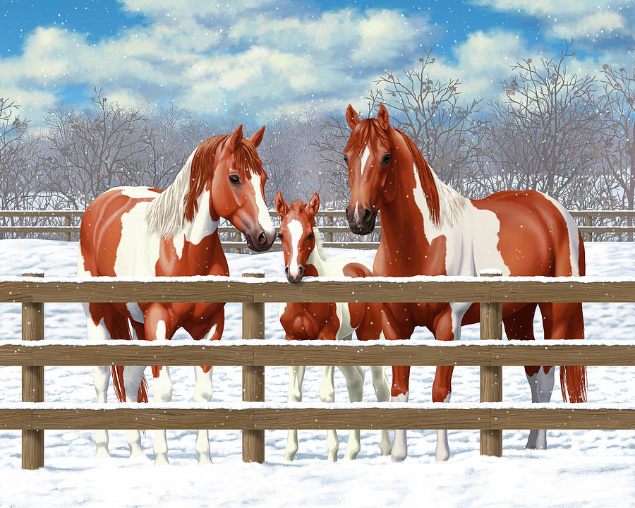 Horses Painting - Chestnut Paint Horses In Snow by Crista Forest