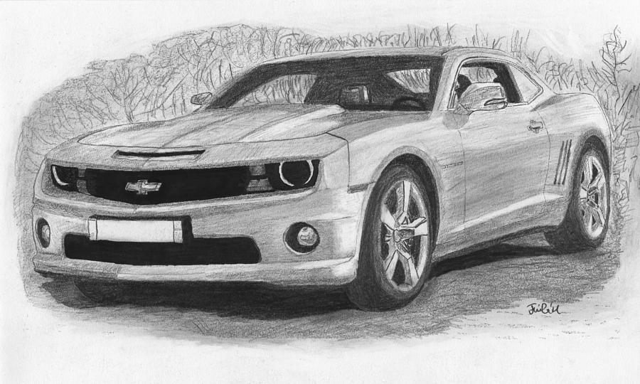 Chevrolet Camaro Sport Car Drawing By Kokas Art