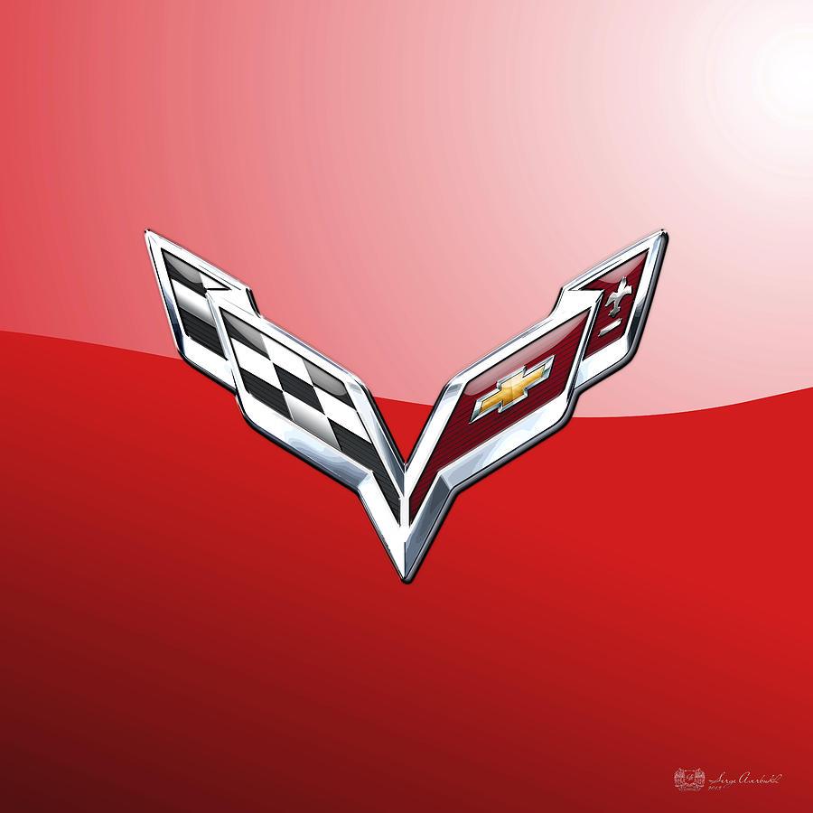 Corvette Photograph - Chevrolet Corvette - 3d Badge On Red by Serge Averbukh