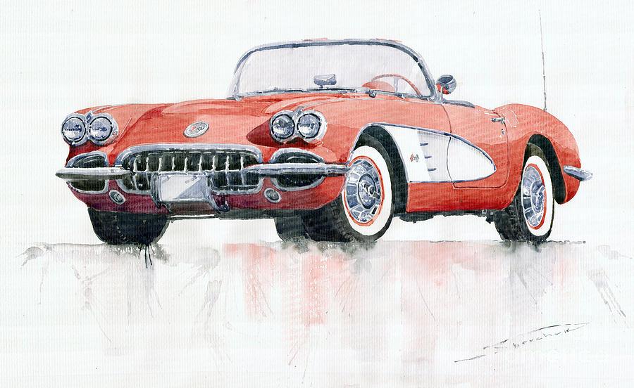 Watercolor Painting - Chevrolet Corvette C1 1960  by Yuriy Shevchuk