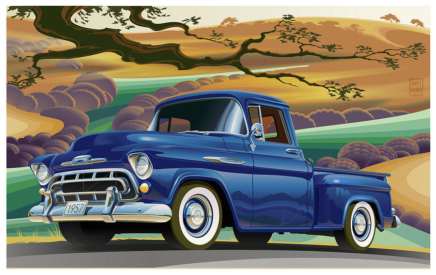 1957 Chevrolet 3100 Truck Under A California Oak Digital Art