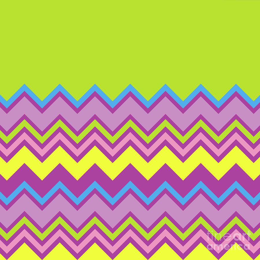 Chevron Bright Green Yellow Blue Purple Zigzag Pattern