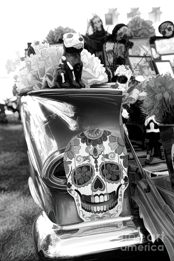 Dia De Los Muertos Photograph - Chevy Decor Day Of Dead Bw by Chuck Kuhn