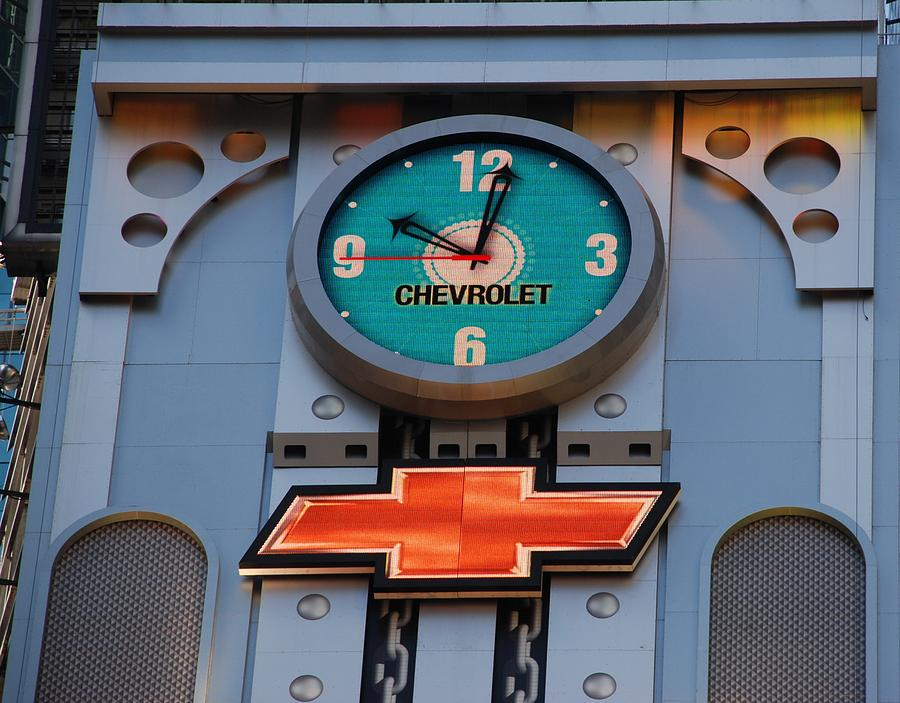 Clock Photograph - Chevy Times Square Clock by Rob Hans