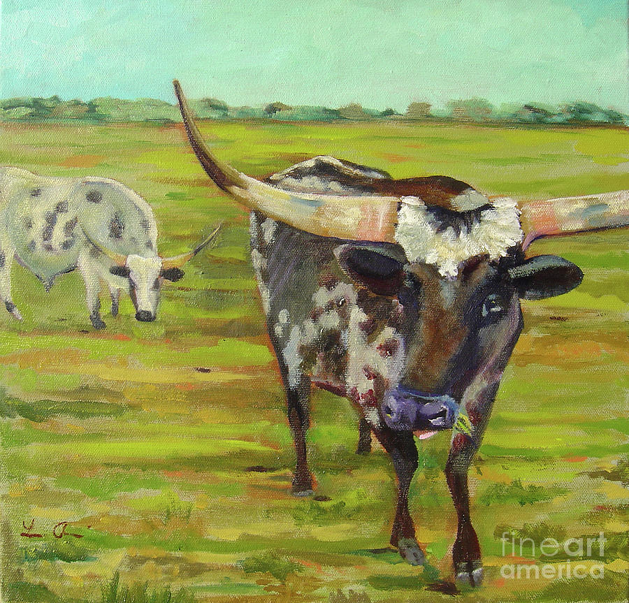 Cattle Painting - Chew by Lilibeth Andre