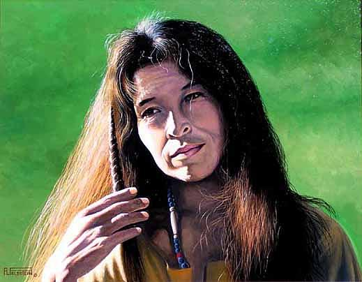 Native American Women Painting - Cheyenne Sioux Woman by Al Feldstein